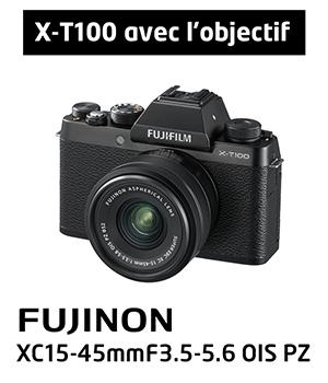 Nouveauté X-T100 avec l'objectif Fujinon XC15-45mm